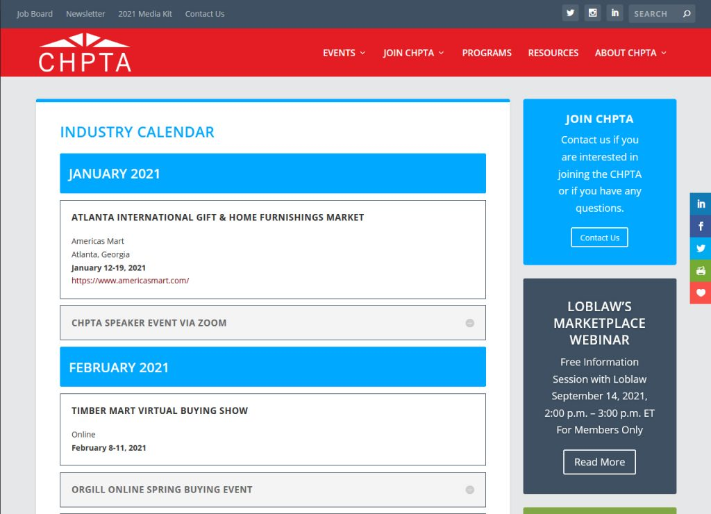 CHPTA Industry Calendar
